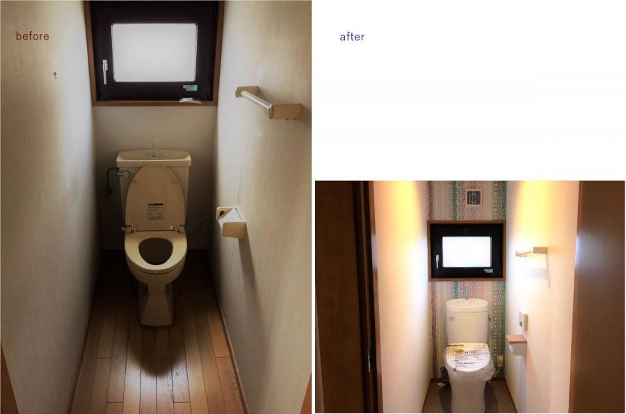 床は清掃しやすい素材に交換 明るい柄の壁紙にリフォーム